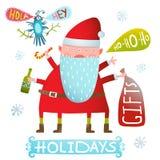 Conception de Santa Claus Funny Crazy Greeting Card de Noël heureux ou de monstre de vacances de nouvelle année Photo stock