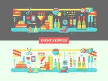 Conception de service d'événement plate Images stock