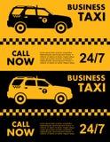 Conception de service de taxi d'affaires au-dessus de fond jaune et noir Silhouette de véhicule Illustration plate de vecteur Ban Images libres de droits