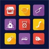 Conception de Shop Icons Flat de boucher Image libre de droits