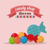 Conception de sucrerie Graphisme doux concept de dessert, illustration de vecteur Photo stock