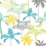 Conception de surface de la Californie Grey Blue Yellow Seamless Pattern de palmiers de vecteur avec les usines exotiques, décora Images stock