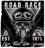 Conception de T-shirt de Logo Emblem de moto de vintage de crâne Image stock