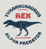 Conception de T-shirt de rex de tyrannosaure, copie, typographie illustration de vecteur