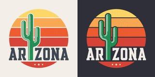 Conception de T-shirt de l'Arizona, copie, typographie, label avec le fléchissement dénommé illustration stock