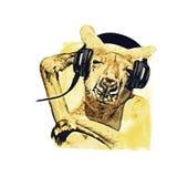 Conception de T-shirt de musique d'écouteurs de kangourou du DJ Images libres de droits