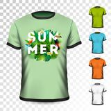 Conception de T-shirt de vacances d'été avec l'oiseau tropical de feuilles, de fleur et de toucan sur le fond transparent Concept Image libre de droits