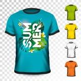Conception de T-shirt de vacances d'été avec les feuilles et la fleur tropicales sur le fond transparent Calibre de conception de Photographie stock