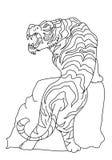 Conception de tatouage de vecteur de tigre sur le fond blanc Images libres de droits