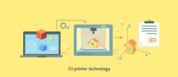 Conception de Technology Icon Flat d'imprimante Photo libre de droits
