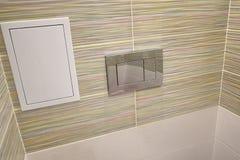 Conception de toilette avec la toilette intégrée La toilette intégrée est faite comme installation, tous les éléments, excepté la image stock