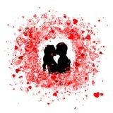 Conception de trame de Valentine avec la silhouette de couples illustration de vecteur