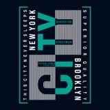 Conception de typographie de Brooklyn pour la copie de T-shirt d'autres utilisations illustration de vecteur