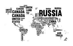 Conception de typographie de carte du monde de nom du pays des textes illustration libre de droits