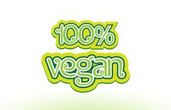 conception 100% de typographie d'icône de logo des textes de mot de vegan Images stock