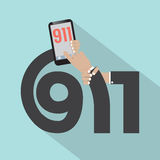 Conception de typographie de l'appel 911 Photo stock