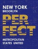 Conception de typographie de New York Brooklyn de vintage affiche, T-shirts, vecteur Images libres de droits