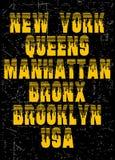 Conception de typographie du vintage NYC, pour le T-shirt, affiche, vecteur Photos stock