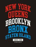 Conception de typographie de New York City Photos libres de droits
