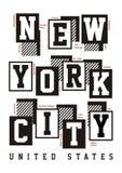 Conception de typographie de New York City pour la copie de T-shirt Images stock