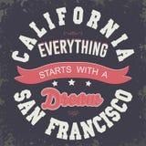 Conception de typographie de T-shirt de sport de la Californie Image libre de droits