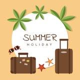 Conception de vacances d'été avec des lunettes de soleil et des étoiles de mer de paume de valise illustration stock