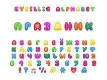 Conception de vacances d'alphabet Vacances de Word Lettres, nombres et signes de ponctuation russes ENV 10 illustration stock