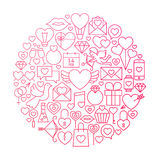 Conception de Valentine Day Line Icon Circle Images libres de droits
