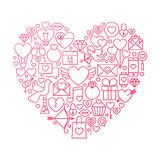 Conception de Valentine Day Line Icon Heart Image libre de droits