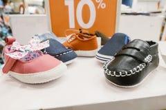 Conception de variété d'échantillon d'affichage de chaussures d'enfant Image stock