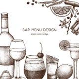 Conception de vecteur avec l'illustration tirée par la main de boissons Les boissons de cru esquissent le fond Rétro calibre d'is illustration de vecteur