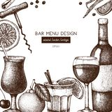 Conception de vecteur avec l'illustration tirée par la main de boissons Les boissons de cru esquissent le fond Rétro calibre d'is illustration stock