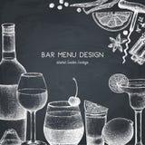 Conception de vecteur avec l'illustration tirée par la main de boissons Les boissons de cru esquissent le fond Rétro calibre d'is illustration libre de droits