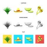 Conception de vecteur de café et de logo latin Placez du café et de l'illustration courante nationale de vecteur illustration stock