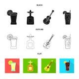 Conception de vecteur de café et de symbole latin Placez du café et de l'icône nationale de vecteur pour des actions illustration stock