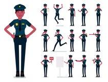 Conception de vecteur de caractère de policière Policier africain féminin Illustration plate de conception de bande dessinée de v Photo stock