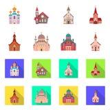 Conception de vecteur de culte et de symbole de temple Placez du culte et du symbole boursier de paroisse pour le Web illustration stock