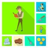 Conception de vecteur d'histoire et d'ic?ne d'articles Collection de symbole boursier d'histoire et d'attributs pour le Web illustration stock