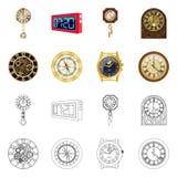 Conception de vecteur d'horloge et d'icône de temps Collection de l'illustration courante de vecteur d'horloge et de cercle illustration de vecteur