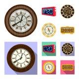 Conception de vecteur d'horloge et de symbole de temps Ensemble d'illustration courante de vecteur d'horloge et de cercle illustration libre de droits