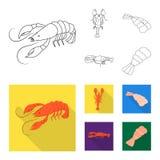Conception de vecteur d'icône d'apéritif et d'océan Collection de symbole boursier d'apéritif et de délicatesse pour le Web illustration libre de droits