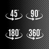 Conception de vecteur d'icônes de degrés d'angle Symbole de cercle de rotation de flèches Mesure de la géométrie illustration stock