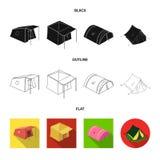 Conception de vecteur d'ic?ne de tente et de camp Collection de symbole boursier de tente et de for?t pour le Web illustration stock