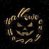 Conception de vecteur d'or de la typographie heureuse de Halloween dans un cadre de lanterne de Jack O illustration libre de droits