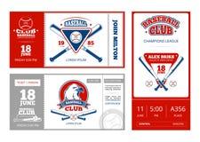 Conception de vecteur de billet de sports de base-ball avec des emblèmes d'équipe de baseball de vintage Photo stock