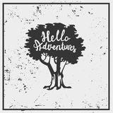 Conception de vecteur de carte postale avec le lettrage d'arbre et de main Image stock