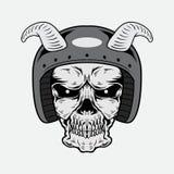 Conception de vecteur de crâne de vintage avec le casque Image stock