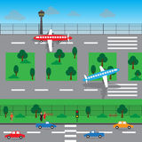 Conception de vecteur de paysage d'aéroport Image libre de droits