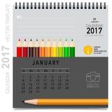 Conception de vecteur de planificateur de 2017 calendriers, calibre mensuel de calendrier Images stock