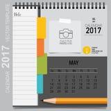 Conception de vecteur de planificateur de 2017 calendriers, calibre mensuel de calendrier illustration stock